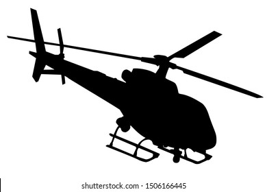 Helicopter silhouette in black vector graphic