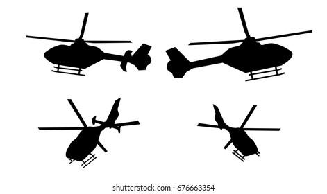 Helikopter-Silhouette von Seite und hinten mit Ruder und ohne Ruder