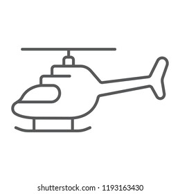 Helicopter thin line icon, transportation and chopper, aircraft sign, vector graphics, a linear pattern on a white background, eps 10.