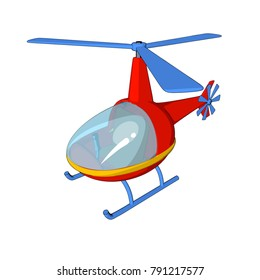 helicopter toy red white background cartoon style isolate technique air