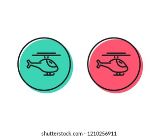 Helicopter transport line icon. Flight transportation sign. Positive and negative circle buttons concept. Good or bad symbols. Helicopter Vector