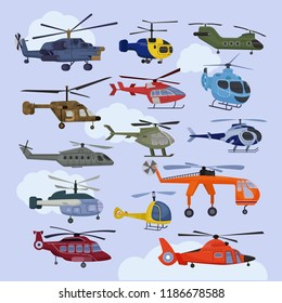 Helicopter vector copter aircraft jet or rotor plane and chopper flight transportation in sky illustration aviation set of aeroplane and airfreighter cargo with propeller isolated on background