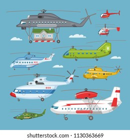 Helicopter vector copter aircraft or rotor plane and chopper jet flight transportation in sky illustration aviation set of aeroplane and airfreighter cargo with propeller isolated on background