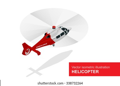 Helicopter Vector isometric. Medical evacuation. Air medical service.
