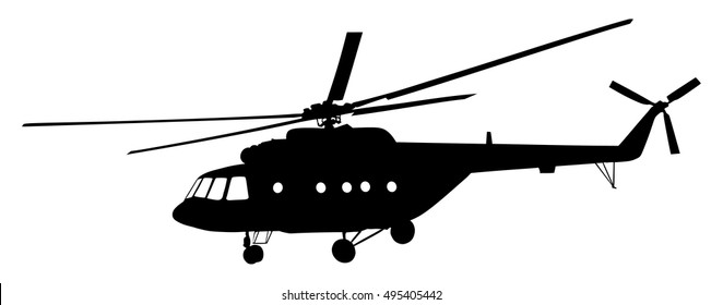 Helicopter vector silhouette illustration isolated on white background. Chopper in air mission. Military transporter.
