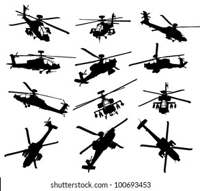 Helicopter vector silhouettes set