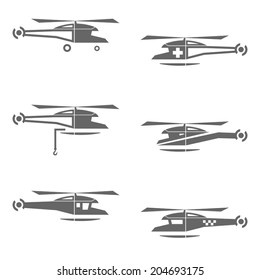 Helicopters icons set isolated on white. Vector illustration