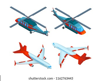 Helicopters isometric. 3d pictures of avia transport. Airplanes and helicopters. Airplane and helicopter, transportation air plane flight illustration vector