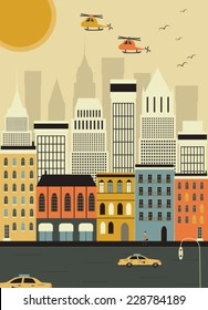 Helicopters over the New York city. Vector