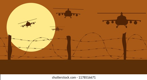 Helicopters Silhouettes and Barbed Wire in War Zone