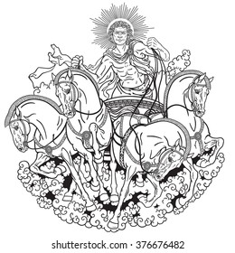 Helios Personification Of The Sun Driving A Chariot Drawn By Four Horses Harnessed Abreast God
