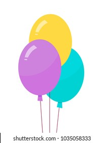 Helium air balloons on long thread vector illustration isolated on white background. Three purple yellow blue balloons realistic design, blown objects