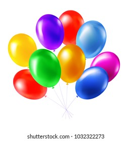 Helium balloon bunch. Realistic style. Bright fashionable colours. Premium vector illustration for your design.
