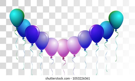 Helium Balloons Realistic Vector Trendy Collection. Birthday Party Celebration, Music Festival, Carnival, Funky Decoration. Flying Airy Realistic Helium Balloons Set on Transparent Background.