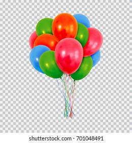 Helium balloons set. Birthday baloons flying for party and celebrations. Isolated on plaid transparent background. Vector illustration for your design and business.