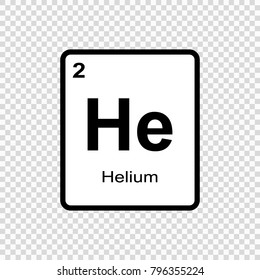 Helium chemical element. Sign with atomic number. Chemical element of periodic table.