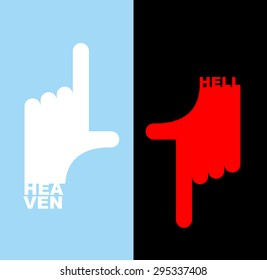Hell and heavene. Direction signs.  Gesture hands up finger, thumb down. Vector illustration