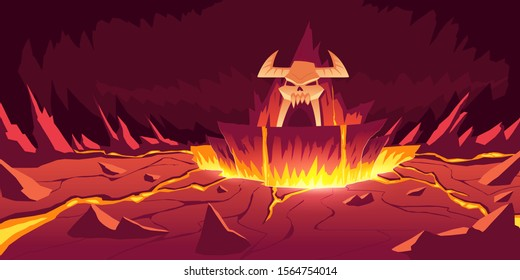 Hell landscape, cartoon vector illustration. Infernal stone cave with cracked hot rocks and volcanoes, flowing molten lava or liquid fire and horned skull, fiery game background