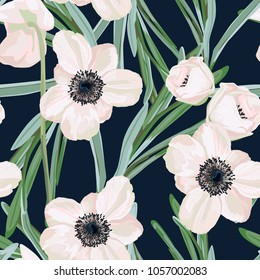 Hellebore anemone Christmas winter rose floral seamless pattern texture. Pink black flowers with green leaves foliage on dark navy blue background. Botanical vector illustration. Dark background.