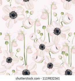 Hellebore anemone Christmas winter rose floral seamless pattern texture. Pink black flowers with green leaves foliage on white navy blue background. Botanical vector illustration.