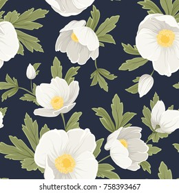 Hellebore anemone christmas winter rose floral seamless pattern texture. White yellow flowers with green leaves foliage on dark navy blue background. Vector design illustration.