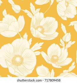 Hellebore flowers bloom blossom seamless pattern. Winter Christmas rose. Lenten rose. Helleborus niger. Detailed floral foliage drawing. Vector design illustration. Bright yellow orange background.