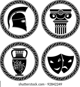 hellenic buttons. stencil. second variant. vector illustration