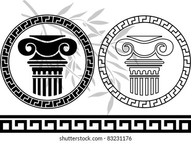 hellenic columns and olive branch. stencil. vector illustration