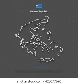 Hellenic Republic isolated map and official flag icons. vector Greece political map thin line icon. European country geographic banner template