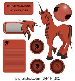 Hellish pony unicorn vector set, EPS10