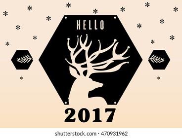 hello 2017 vector deer illustration