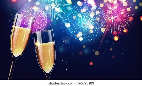 Gala invitation stock vectors images vector art shutterstock hello 2018 merry christmas and happy new year 2018 festive background with two glasses of stopboris Images