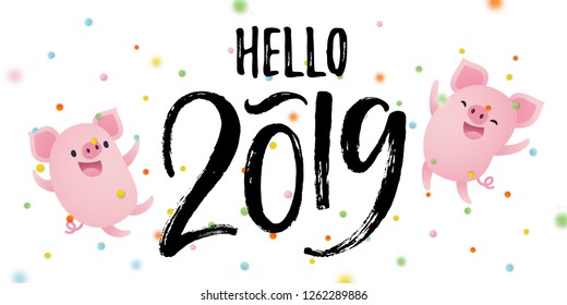 Hello 2019 card with cute pigs and confetti. Hand drawn lettering. Vector illustration.