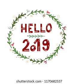 Hello 2019 greeting card with hand lettering on white background