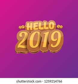 Hello 2019 Happy new year creative design background or greeting card with colorful numbers. Happy new year label or icon isolated on violet background