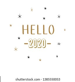 hello 2020 lettering hand drawn vectorMerry Christmas. Hand drawn creative calligraphy and brush pen lettering. design for holiday greeting cards and invitations of the Merry Christmas