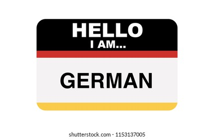 Hello, I am... German, Sticker Vector