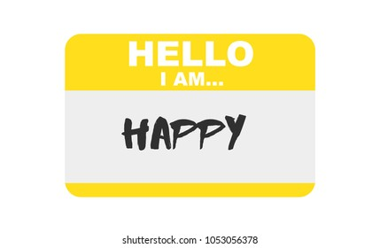 Hello, I am... Happy, Sticker Vector
