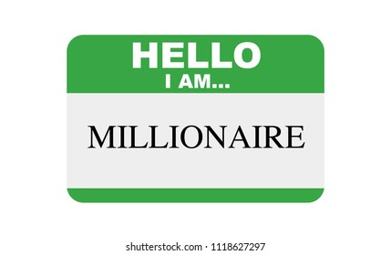 Hello, I am... Millionaire, Sticker Vector
