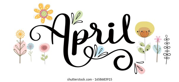 Hello April. APRIL month vector with flowers and leaves. Cute Decoration floral. Illustration month april