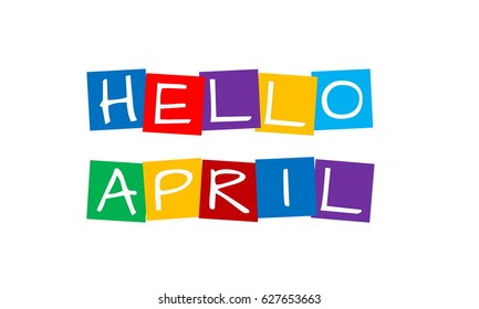hello april, text in colorful rotated squares