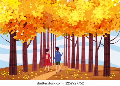 Hello autumn, Autumn alley, couple guy and girl characters walking along the path in the park, fall, autumn leaves, mood, color, vector, illustration, cartoon style, isolated