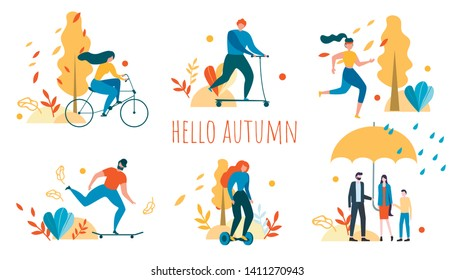 Hello Autumn Background. Cartoon People Outdoors Activity Vector Illustration. Man and Woman Cycling, Running, Ride Bicycle, Skateboad, Scooter, Hoverboard. Family Walk Rain Umbrella Nature Recreation