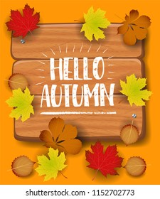 Hello Autumn banner. paper colorful tree leaf maple, rowan leaves on wood texture background.