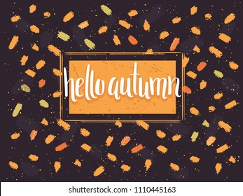 Hello Autumn - Card with Falling Leaves