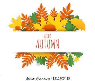 Hello Autumn card hand lettering typography, vector illustration in paper art craft style. Beautiful paper cut autumn composition with maple, oak tree leaves, hedgehog and umbrella.