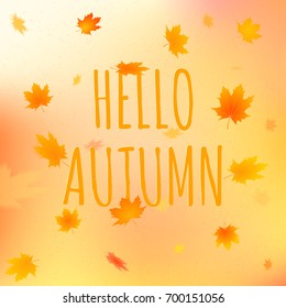 Hello autumn card. Vector illustration of greeting text with leaves on colorful background.