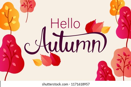 Hello autumn. Colorful poster with trees and leaves. Vector background.