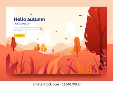 Hello autumn colorful web banner. Autumn landscape with falling leaves, gradd, trees and mountains. Colorful decorative background for promo flyer, web page, card. Vector eps 10.