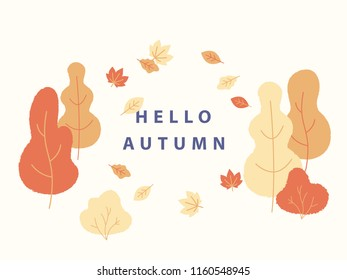 Hello autumn concept vector illustration in flat minimalistic design. Yellow trees and bushes and falling leaves around text place for banner design.